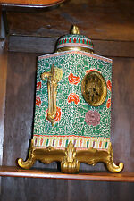 ANTIQUE CHINESE PAINTED PORCELAIN AND FRENCH GILDED BRONZE HUGE  MANTEL CLOCK