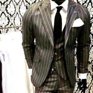 Gris-Negro-Disenador-Rayas-Traje-Set-Chaleco-Entallado-Camisa-Ajustada-Corbata
