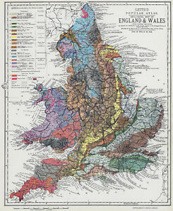 Geological Map of England Wales 1883 by H W Barstow large modern