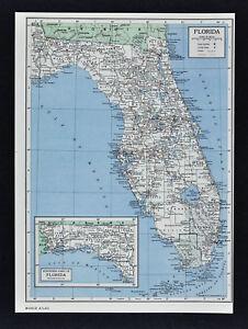 1849 Britannica Map Florida Miami Orlando Tampa Panama City
