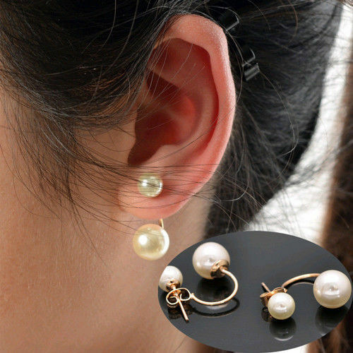 New Fashion Women's Stud Earrings Gold Filled Double White Freshwater Pearl