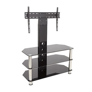 Black-Glass-TV-Stand-With-Wall-Bracket-for-32-55-034-TVs-90cm-Wide-With-Shelves