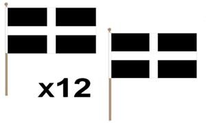 Plain White Large Hand Waving Flag 45X30Cm 12 Pack