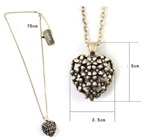 Antique style elegant filigree heart  woman necklace N-A272