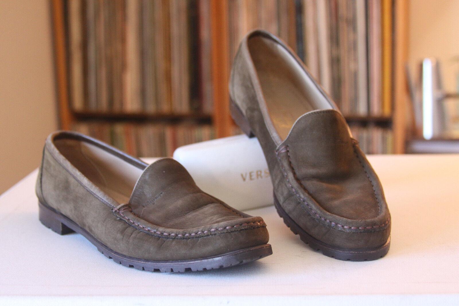 Salvatore Ferragamo Sport Braun Nubuck Suede Loafers Größe 9.5 AA Made In