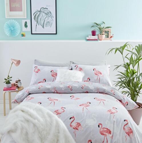 Catherine Lansfield Reversible Flamingo Exotic Grey Pink Duvet Cover Bedding Set