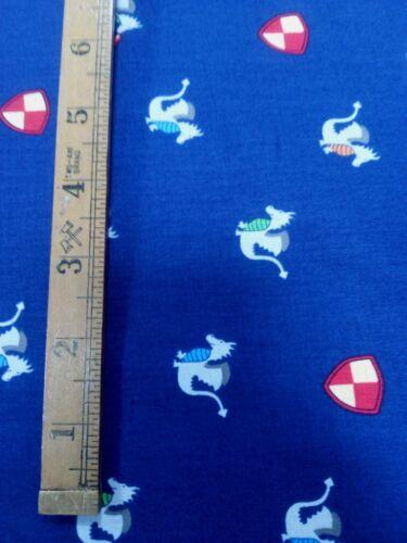 Michael Miller Good knight magic dragon blue 100/%cotton fat quarter,free p/&p,