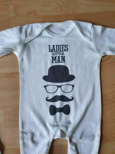 Personalised Baby Romper Boys Bodysuit Kids Any Name Little Man Mouse Cartoon
