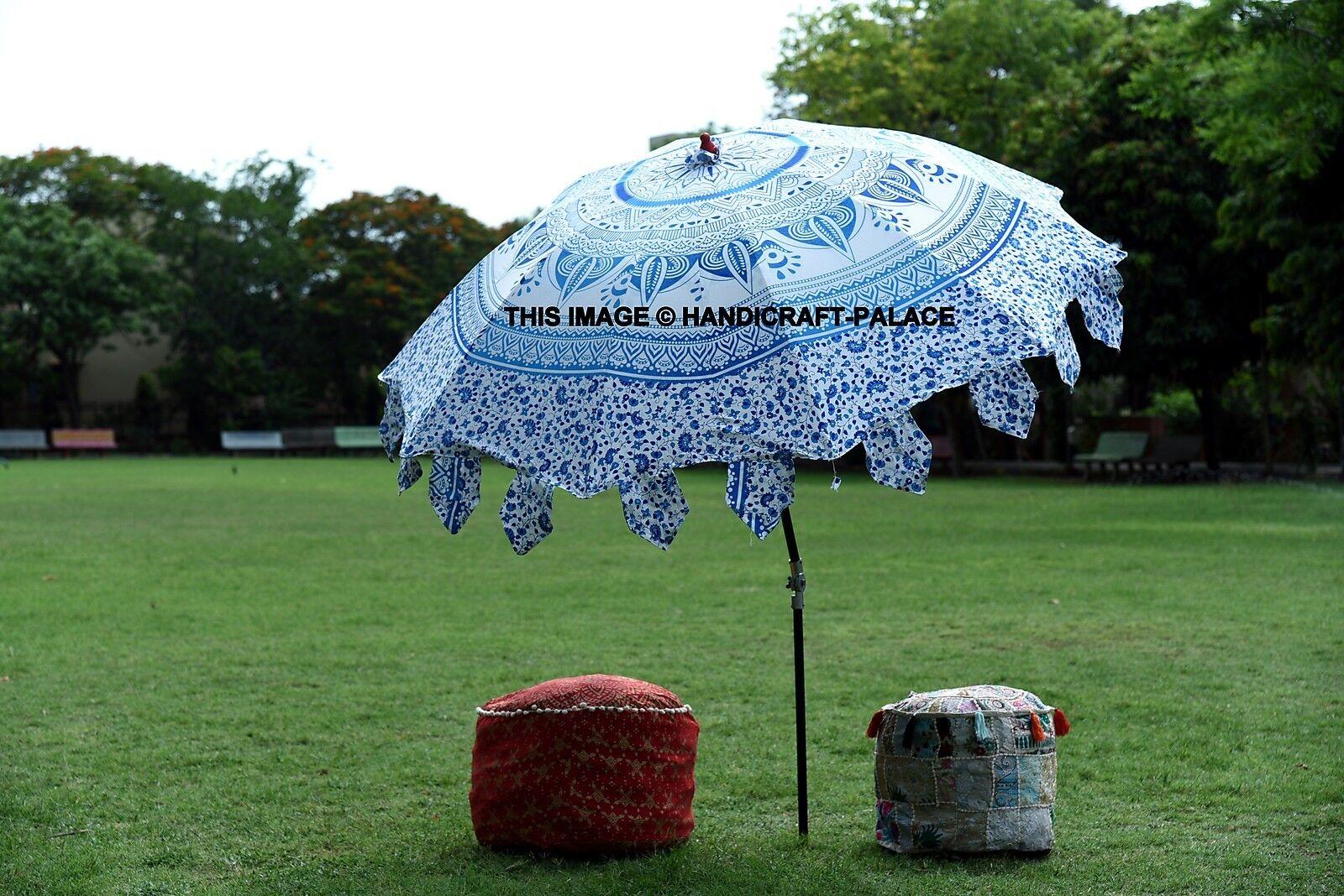Indian Beautiful Garden Parasol Blau Ombre Mandala Cotton Sun Shades Umbrella