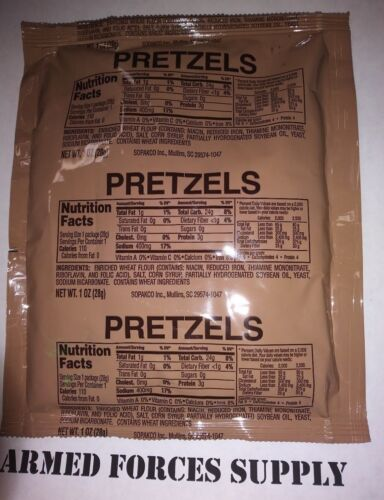 2 PACKS MRE PRETZELS EMERGENCY FIELD RATIONS HIKING CAMPING FOOD SURVIVAL