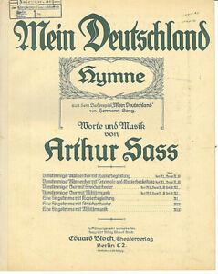 034-Mein-Deutschland-034-Hymne-von-Arthur-Sass-alte-Noten-uebergross