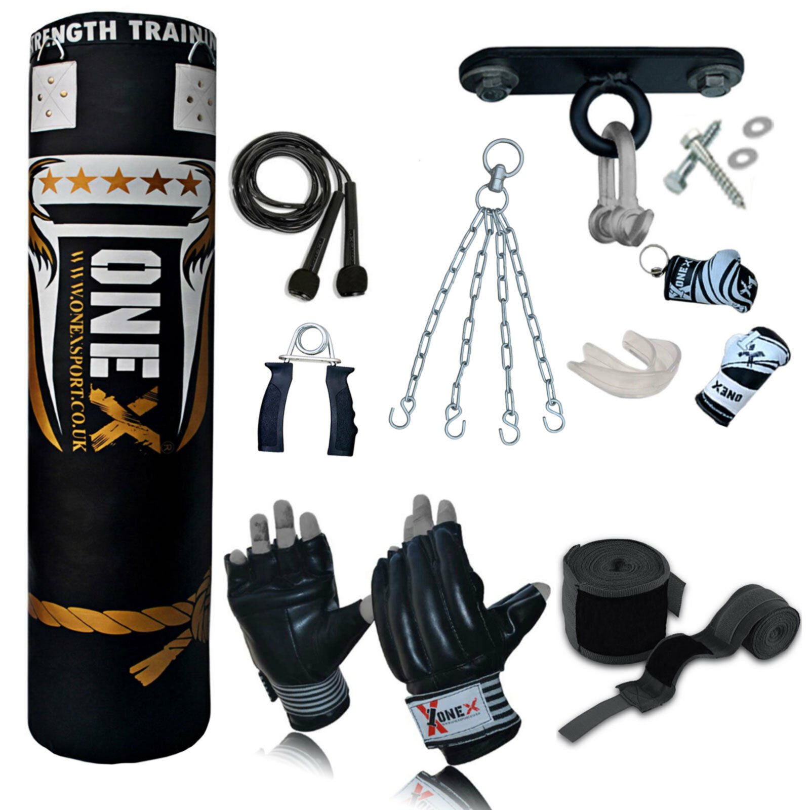 Top 13 13 13 Piece 5ft Heavy Filled Boxing Punch Bag Set,Gloves,Hook,Chains MMA Pad 8369b1
