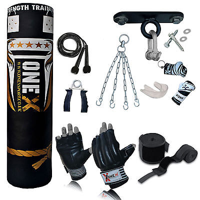 Top 13 Piece 5ft Heavy Filled Boxing Punch Bag Set,Gloves,Hook,Chains MMA Pad