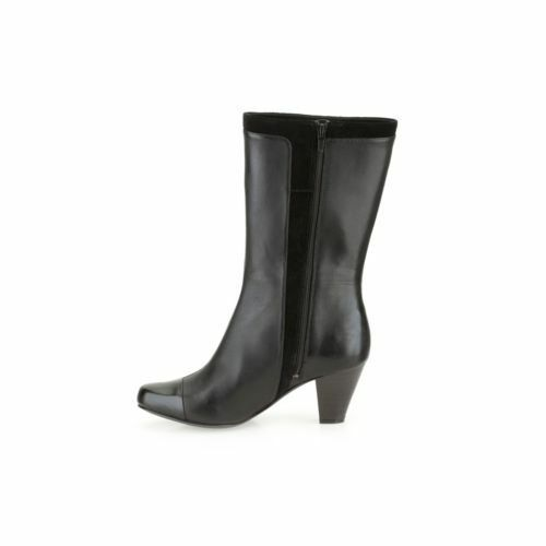 Clarks Lodge Cottage Ladies Black Leather Mid-Calf Office Bnkle Boots, UK 8