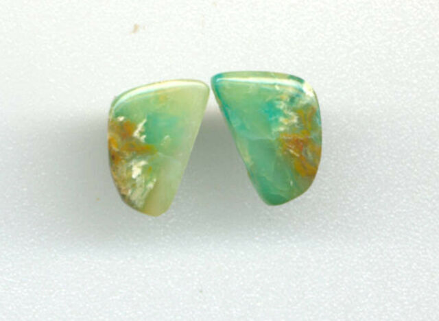 PAIR - FLATBACK & UNDRILLED BLUE PERUVIAN OPAL FREEFORM CABOCHONS - 3663