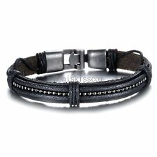 Multi Layered Black Leather Cord Braided Cuff Bracelet Wristband for Men Boys