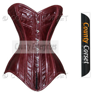 156f6e9155 Image is loading Overbust-Bustier-Steel-Boned-Heavy-Back-Lacing-Real-