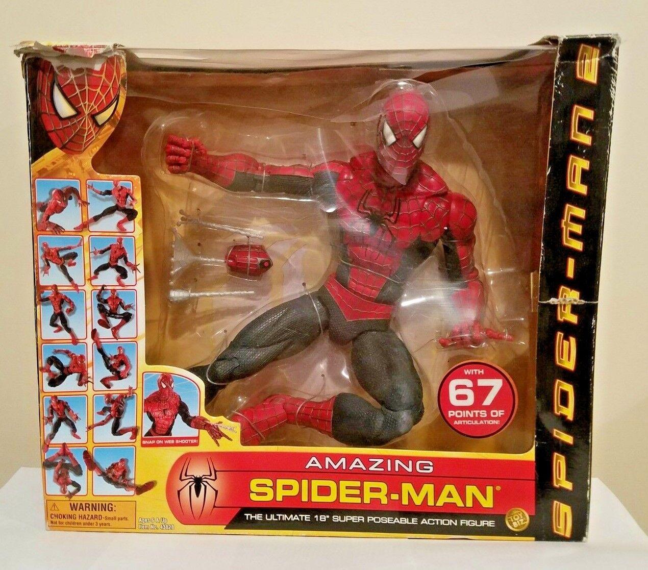 TOY BIZ SPIDER-MAN 2 THE MOVIE 18 INCH AMAZING SPIDER-MAN SUPER POSEABLE FIGURE