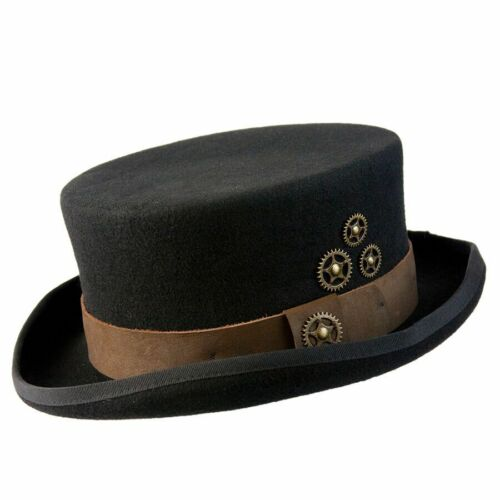 Steampunk English Style Top Hat with Leather Band /& Gears in Black Brown