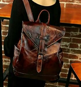 Vintage Women Real Cow Leather Backpack Travel Bag Embossed Handbag S 4colors