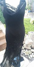 Black silk dress w flower trim + sequins by ICE Sheer with slip UK size 8