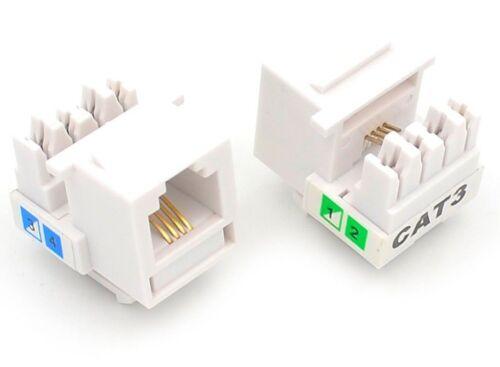 50 Pcs CAT3 RJ11 6P4C Phone Telephone Keystone Jack 110 H-Modular White CAT 3
