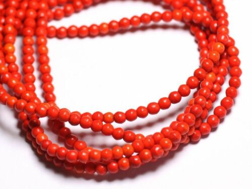 Perles Turquoise Synthèse Boules 4mm Orange   4558550022554 40pc