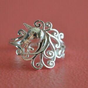 925-Sterling-Silver-Unicorn-Pegasus-Fantasy-Fairy-Tale-Ring-Band-Unicorn-Ring