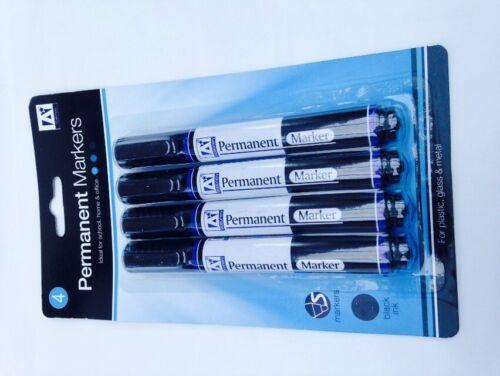 Bullet Tip 4 X BLACK  Permanent Marker Pens