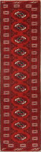 2-039-x10-039-Narrow-Geometric-Bokhara-Oriental-10-ft-Runner-Rug-RED-Wool-Hand-Knotted