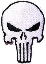 Ecusson patch thermocollant Skull Tête de mort Punisher-Blanc