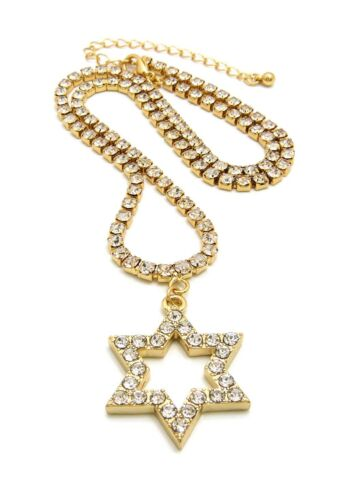 """Iced Out Hip Hop Gold PT Star Of David Pendant /& 18/"""" 1 Row Tennis Chain Necklace"""