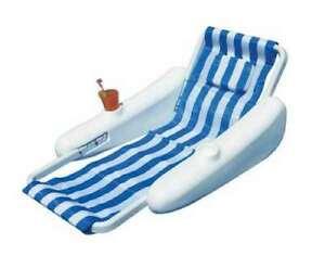 Swimline SunChaser Sling Floating Pontoon Style Swimming Pool Lounge Chair