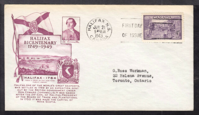 CANADA FIRST DAY COVER #283 4c PURPLE 1949 HALIFAX BICENTENARY