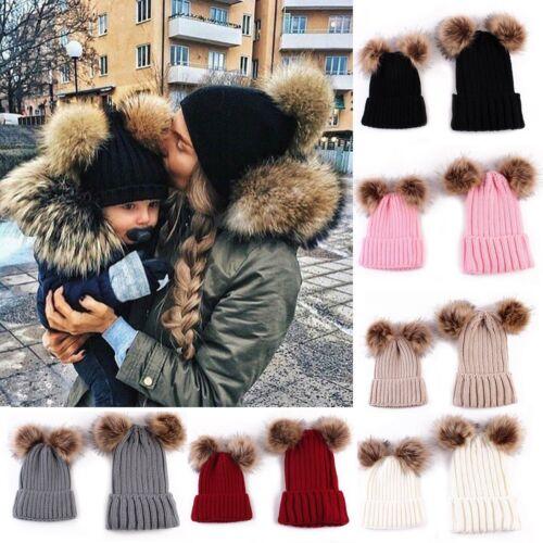 Outdoor Hiver Chaud maman /& bébé fille double fourrure Pom Pom Knit Beanie Hat Cap