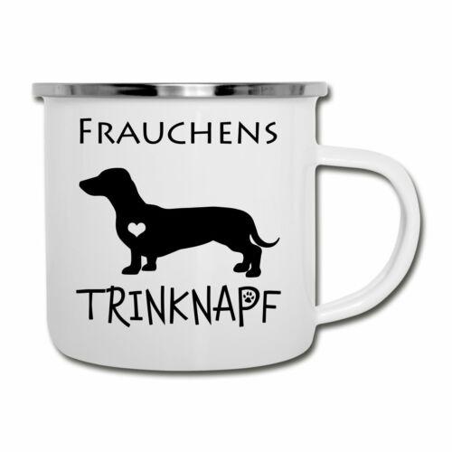Hundebesitzer Frauchens Trinknapf Dackel Hundemama Emaille-Tasse