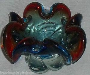 Lorraine-Murano-Glass-Bowl-Cigar-Ashtray-Blue-Red-Vtg
