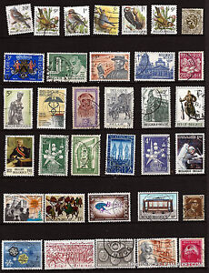 32T5-BELGICA-34-sellos-matasellados-facial-en-francos-temas-diversos