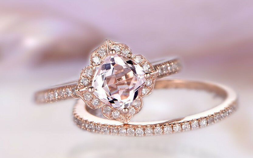 14k solid gold ring 5x5 m.m morganite ring set 2 diamond ring wedding  DJR0255
