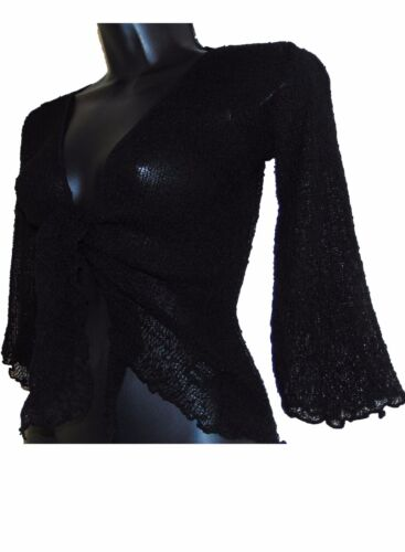 Ladies Plus Size Knit Tie Front Bolero Crochet Net Shrug Bali Top Cardigan 14-24
