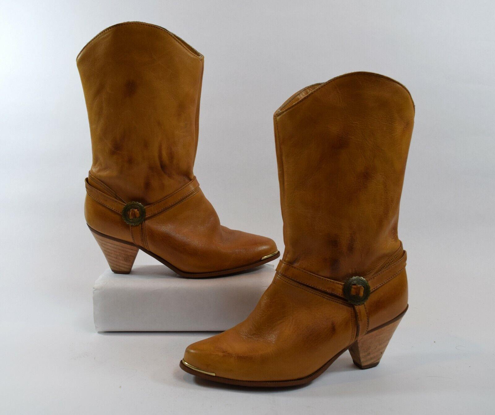 Vintage Marrón Cuero para mujeres botas de vaquero occidental tamaño 6M Hecho en EE. UU.