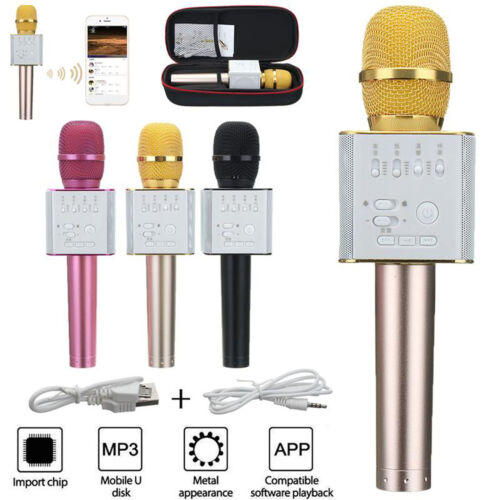Q9 Wireless Bluetooth Microphone Portable Karaoke Stereo USB Player KTV Black