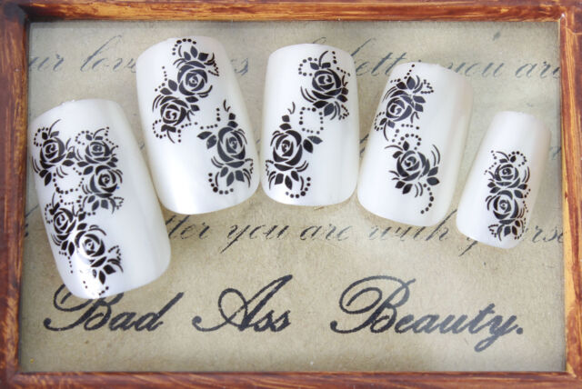 Black Roses Dots Tail Flowers Water Transfers Nail Art Sticker