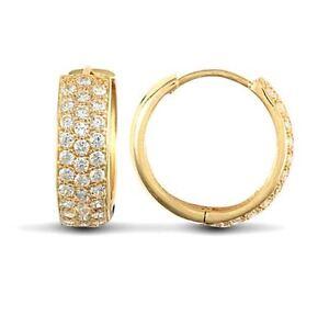 Mens Ladies 9ct Gold Cz Eternity 16mm Huggie Hoop Earrings