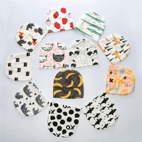 Newborn Baby Boy Girls Beanie Hat Knit Cotton Bear Print Infant Caps Child Hats