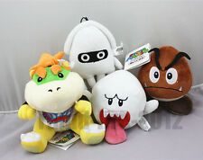 4pcs Super Mario Bro. Boo Ghost & Goomba & Blooper & Bowser Jr. Plush Toy Doll