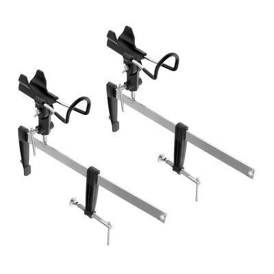 2x Foldable Fishing Rod Holder Pole Stand Metal Bracket Rack Support Silver