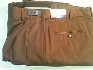 Austin Reed Mens 33 Reg Brown 100 Worsted Wool Super Gabardine Dress Pants Ebay