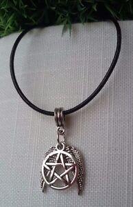 Pentagramm-Halskette-Leder-Kette-Engel-Teufel-Stern-Kelten-Wicca-Pagan-Silber