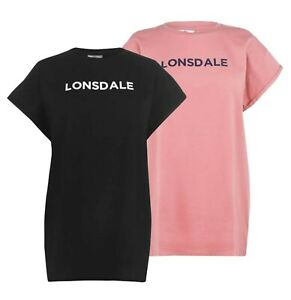 Ladies-Lonsdale-Cotton-Lightweight-Stylish-Long-Line-T-Shirt-Sizes-from-8-to-18